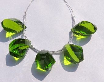 5 Pcs Beautiful Peridot Green Quartz Faceted Twisted Drops Briolette Size 19*10 MM