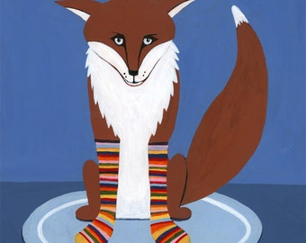 Fox nursery art. Fox in Sox print