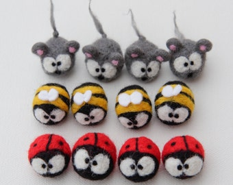 Ladybird Ladybug Bumble Bee Insect Mouse Mice Penguin Magnet Cute Felted Red Wool