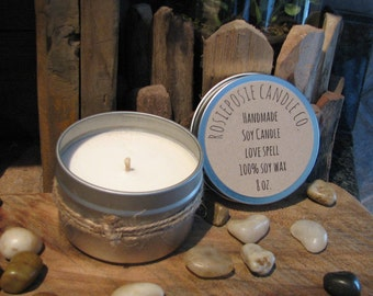 Love Spell 8 oz. Soy Wax Candle Travel Tin  Handmade