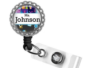 ON SALE - Teacher, Badge Reel, ID Holder, Gifts for Teachers, Teacher Lanyard, Teacher Gift, Back to School, Personalized, Science Teacher G