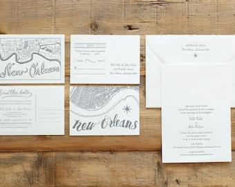 wedding letterpress invitation oak