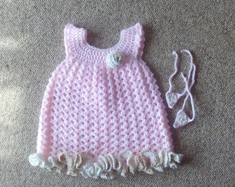 Dress,Pink,Gold,Barefoot Sandals,Gift,Photos,Girls,Newborn-3Months,Crocheted,Clothing,Wardrobe,Babies,Infants