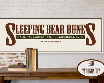 Sleeping Bear Dunes Canvas, Sleeping Bear Dunes National Lakeshore, Travel Typography, Vintage Wall Art, Travel Illustrations, Michigan