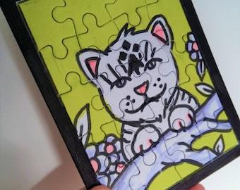 Carte puzzle peint lion blanc