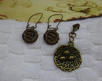 Lot of two jewelry/Pendant and Earrings set/bird nest earrings pendant/bird nest pendant and earrings/kidney earrings