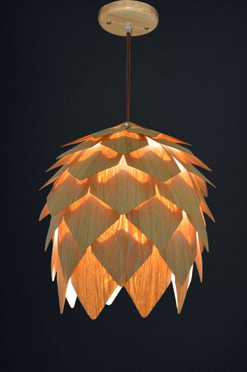 Wood pendant hanging lampunique set of 2 mini pine cone zoom arubaitofo Gallery