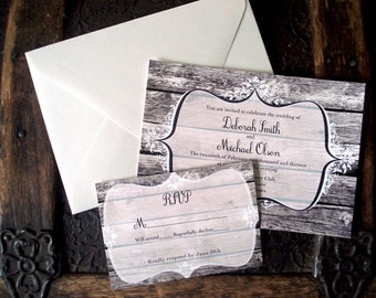 Rustic wood and lace wedding invitations. Western. Barn wood. Outdoor wedding. Custom. Personalized.