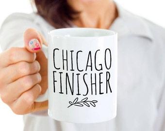 Chicago Marathon Finisher Mug - Chicago Marathon Runner Gift for Crossing the Finish Line -Black or White 11 or 15 oz Ceramic Coffee Tea Cup