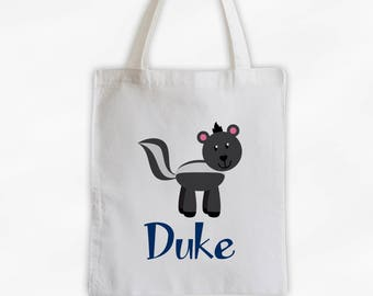 Personalized Skunk Canvas Tote Bag - Forest Animal Custom Travel Overnight Bag for Boys or Girls - Reusable Tote (3042)