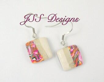 Earrings Pink Orange Pearl Square Dangle
