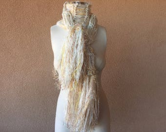 Cream Scarf, Ivory Scarf with Marigold Light Orange and Yellow. Feathery Fringe, Taupe Hand Knit Scarf Sweater Style Scarf