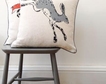 Hand printed linen hare cushion