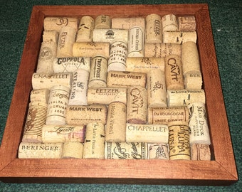 Cherry Wood and Natural Wine Cork Hot Plate/Trivet