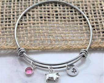 Pig Birthday Gift - Pig Charm Bracelet - Pig Lover Gifts - Pig Jewelry - Pig Themed Gifts - Silver Pig Bracelet - Pig Bangle - Personalized
