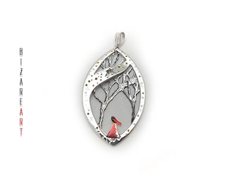 Little Red Riding Hood - Little red necklace - Little red - Fairytale jewelry - Big bad wolf - Silver necklace - Christmas present