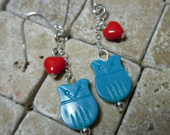 Owl Love earrings - turquoise vintage plastic owl and red glass heart on sterling silver -Free Shipping USA