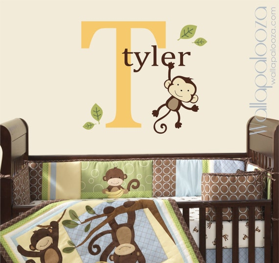 Wall Decal Monkey Kids Room Nursery Decal Monkey Decal
