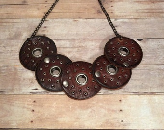 Bold Leather Bib Necklace - Brown Leather Necklace - Medieval Leather Jewelry - Steampunk - Bohemian Necklace - Statement Necklace