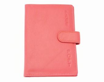 Genuine Super Soft Leather Passport Holder / Passport Cover. EP8E-CORAL