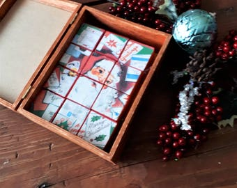 READY TO SHIP Puzzle Block set of 12 in box, vintage Christmas card puzzle, handmade blocks, gifts, Christmas keepsake gift, new baby gift