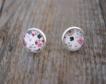 Liberty pink and gray Stud Earrings
