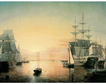 Hand-cut wooden jigsaw puzzle. BOSTON HARBOR SHIPS. Fitz Hugh Lane. Maritime painting. Wood, collectible. Bella Puzzles.
