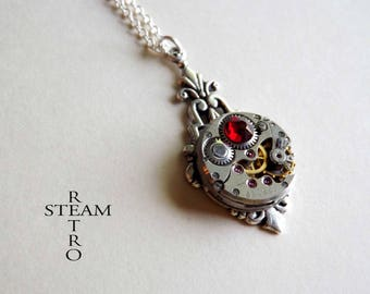 art deco necklace red steampunk - steampunk jewellery - by steamretro-steampunk necklace