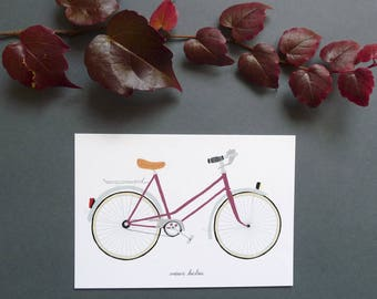 "postcard with ""Burgundy"" vintage bicycle"