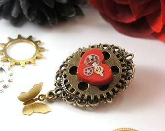 Steampunk Jewelry, Valentines Day Gift, Victorian Steampunk Brooch, Steampunk Cameo, Mechanical Jewelry, Cogs and Gears, by NotAliceBoutique