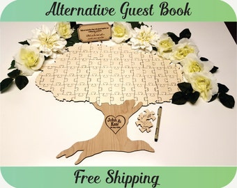 Guest Book Autumn Fall Tree Puzzle - Wedding Guest Book Alternative, Personalized Guest Book, Custom Guest Book, Rustic, Tree of Life