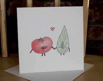 Handmade Tomato Basil Valentine's Day Card, Italian Wedding, Anniversary Card, Hand Drawn OOAK Funny Card, Tomato Basil Love Illustration