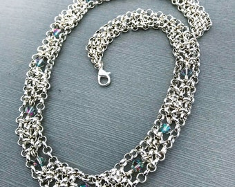 White Witch Necklace, Silver Plated Chainmail with Crystals