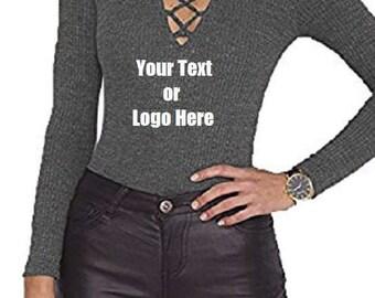 Custom Personalized Designed Women Choker V Neck Lace Up Long Sleeve Jumpsuit Ribbed Knitted Bodysuit