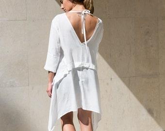 Beach Wedding Dress, Plus Size Dress, White Summer Dress, Short White Dress, Open Back Dress, Cotton Dress, Party Dress, Short Beach Dress