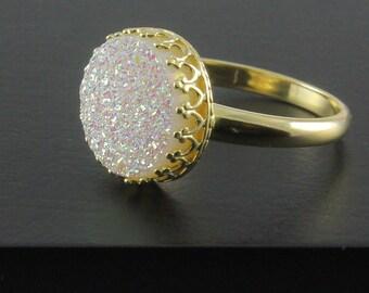14K Gold Druzy Ring - White Druzzy Stone - Drusy Quartz Ring - Bezel Set Ring