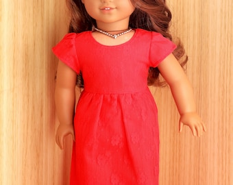 Lady in Red lace overlay dress for 18 inch dolls such as American Girl