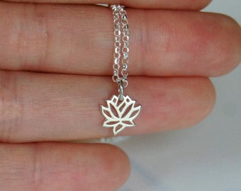 Lotus Necklace, Sterling Silver, Flower Necklace, Bridesmaid Gift, Birthday Gift, Children's Jewelry, Mother of the Bride