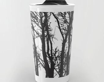 Black Trees Travel Mug - Coffee Mug - Black and White Modern Tree Branches Travel Mug - Aldari Home