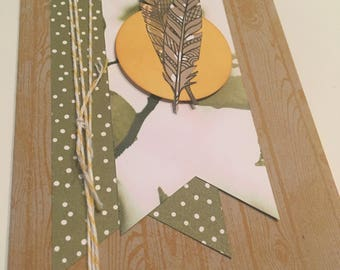 Mustard and olive Feathers and wood grain card