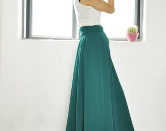 Plus Size Maxi Skirt Chiffon Silk Skirts Beautiful Bow Tie Green Elastic Waist Summer Skirt Floor Length Long Skirt (037)