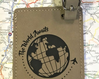 World Awaits Personalized Luggage Tags - Letherette Luggage Tags - Travel Enthusiast Gift- Travel Abroad Gift