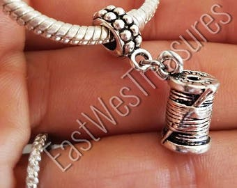 Sewing charm/ Needle and thread charm/ Sewing machine charm pendant for fit  European Charm Bracelets & necklace