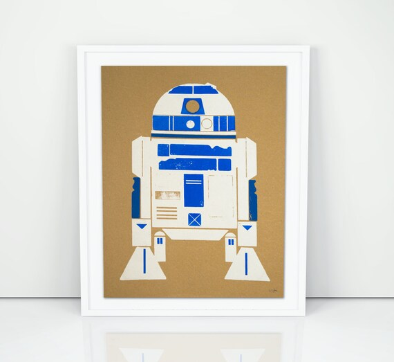 R2D2 Droid Wood Block Screen Print Poster