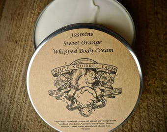 Jasmine Sweet Orange Whipped Body Cream Butter Shea Cocoa Mango Butters Coconut Almond Oils Organic Natural Cruelty Free