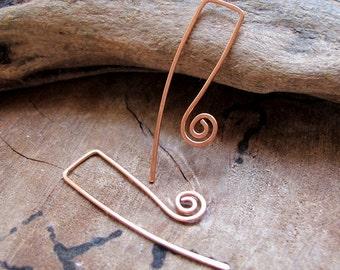 Long French Styled Ear wires. Copper Hammered Earwires Earrrings. Swirls Handmade Earrings. Artisan Ear Wires, Unique Ear Wires. Retro Style