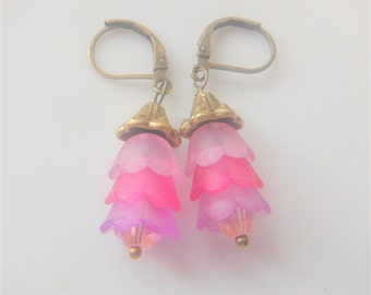 Purple Pink Bell Flower Earrings