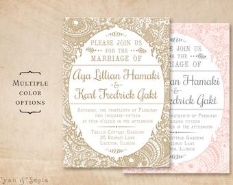 Vintage Lace - 5x7 Printable Wedding Invitation - Cottage Victorian Rustic Elegant Personalized DIY - Gold White Pink Blush Gray Grey