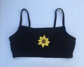 Black Embroidered Bralette, Sunflower Crop Top, Embroidered Sports Bra, Sunflower Embroidery, Beach Clothes