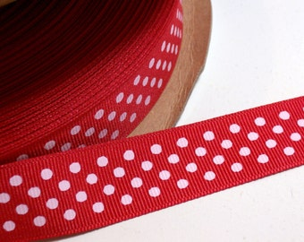 Red Ribbon, Red Confetti Dot Grosgrain Ribbon 7/8 inches wide x 10 yards, Offray Ribbon